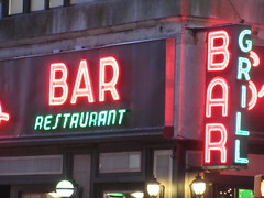 2019 Smiths Bar Restaurant Grill 1053 (Brechtbug) Tags: 2019 smiths bar restaurant grill corner 44th street 8th avenue west nyc 06112019 rush hour pedestrians milling around red green neon light sign hell s kitchen clinton new york city taxi cab hells afternoon evening subway entrance globe film smith