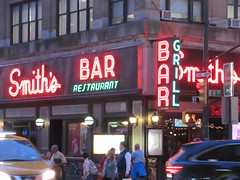 2019 Smiths Bar Restaurant Grill 1050 (Brechtbug) Tags: 2019 smiths bar restaurant grill corner 44th street 8th avenue west nyc 06112019 rush hour pedestrians milling around red green neon light sign hell s kitchen clinton new york city taxi cab hells afternoon evening subway entrance globe film smith
