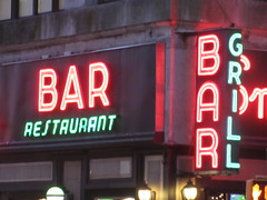 2019 Smiths Bar Restaurant Grill 1048 (Brechtbug) Tags: 2019 smiths bar restaurant grill corner 44th street 8th avenue west nyc 06112019 rush hour pedestrians milling around red green neon light sign hell s kitchen clinton new york city taxi cab hells afternoon evening subway entrance globe film smith