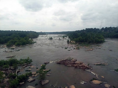 James River. (dccradio) Tags: petersburg va virginia dinwiddiecounty bridge jamesriver river water bodyofwater rocks tree trees greenery foliage nature natural outdoor outdoors outside scenic rock stone stones samsung galaxy smj727v j7v cellphone cellphonepicture sky clouds overcast