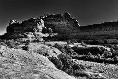 Squaw Butte (Black & White, Canyonlands National Park) (thor_mark ) Tags: anseladamslookfromcapturenx2 azimuth43 blackwhite blueskies butte canyonlands canyonlandsnationalpark capturenx2edited centralcanyonlands colorefexpro coloradoplateau day4 desertlandscape desertmountainlandscape desertplantlife highdesert intermountainwest landscape layersofrock lookingne mesa nature nikond800e outside portfolio project365 rollinghillsides sr211 squawbutte stateroute211 sunny theneedlesdistrict trees utahhighdesert utahnationalparks2017 utahstateroute211 woodenshoeoverlook utah itedstates