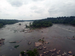 Rocks In The James River. (dccradio) Tags: petersburg va virginia dinwiddiecounty bridge jamesriver river water bodyofwater rocks tree trees greenery foliage nature natural outdoor outdoors outside scenic rock stone stones samsung galaxy smj727v j7v cellphone cellphonepicture sky clouds overcast