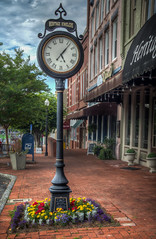 Heritage Jewelers Clock on the Shelbyville Square (donnieking1811) Tags: tennessee shelbyville heritagejewelers clock buildings stores flowers sidewalk bricks outdoors trees sky clouds signs hdr canon 60d lightroom photomatixpro