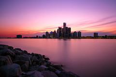 P6111732 (elsuperbob) Tags: windsor ontario detroit skyline skyscrapers detroitriver longexposure nd1000 sunset bluehour renaissancecenter
