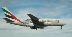 A380 A6-EEU with EK412 (johnstewartnz) Tags: emirates a380 airbusa380 ek412 rugbyworldcup 70200mm 70200 70200f28 70200mmf28 70200mmharewood christchurch chc christchurchinternationalairport aviation plane planes em