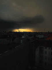 untitled (ChrisRSouthland (mostly off, traveling & working)) Tags: iphone iphone7 iphonephotography berlin city light clouds golden color eerie