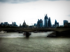 A Cloudy Day on the Thames River (Steve Taylor (Photography)) Tags: riverthames stpauls architecture landscape waterloobridge office building construction black blue brown glass uk gb england greatbritain unitedkingdom london city perspective texture autumn crane atmospheric