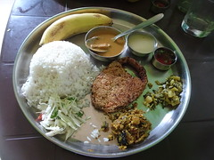 Fish curry rice thali (joegoaukfishcurryrice) Tags: joegoauk goa fish rice curry