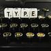 Word TYPE on a typewriter