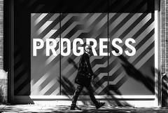 Fortschritt (michael_hamburg69) Tags: hamburg germany deutschland monochrome streetphotography man male guy person street progress fortschritt plakat