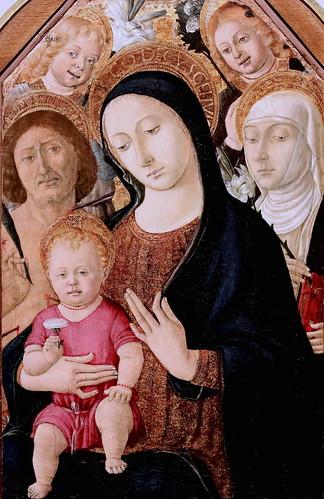 IMG_4170 Matteo di Giovanni  1430-1497 Siena  Vierge à l'enfant avec saint Sébastien, sainte Catherine et deux anges Virgin and Child with Saint Sebastian, Saint Catherine and two Angels  vers 1480 Bergamo Accademia Carrara