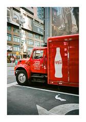 FILM - Red lorry (fishyfish_arcade) Tags: 35mm analogphotography canonsureshotz135 filmphotography filmisnotdead istillshootfilm kodak newyork portra400 analogcamera compact film lorry truck streetscene
