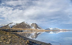 Horizon reflections (Varvara_R) Tags: iceland travel traveldestination view scene landscape horizontal mountain mountains morning reflections nature cloud clouds