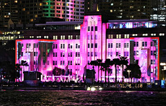 2019 Sydney: Vivid MCA (dominotic) Tags: 2019 vividsydney sydneyharbourlights museumofcontemporaryart citysparkle sydneyharbour lightinstallations art festival lightprojection icon colour light dark night winterfestival nightlighting nightsky movement blur sydney nsw australia