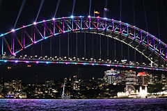 2019 Sydney: Vivid Harbour Bridge (dominotic) Tags: lighting light blur colour art festival night dark movement sydney australia icon festivaloflight nsw nightsky sydneyharbour afterdark sydneyharbourbridge harbourlights 2019 nightlighting winterfestival vividlight lightinstallations lightprojection citysparkle vividsydney lunapark