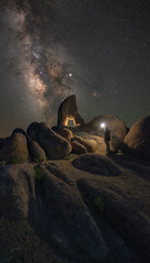 Midnight Explorer At Boot Arch (Mike Ver Sprill - Milky Way Mike) Tags: boot arch milky way mike galaxy universe nightscape night sky dark skies alabama hills lone pine california travel explore desert landscape light sphere man alone solitude le astrophotography photography astro astronomy ioptron star tracker starry stacker stacking stack clean noiseless less noise stars chaser best learn free tutorial sierra mountain range clear vertorama