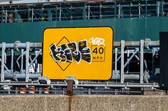 Bombed Street Sign (Edgar.Omar) Tags: m39 soligor soligor10528 k50 pentax street streetsign outside nyc urban city queens