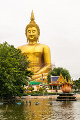 Big Buddha Wat muang, Angthong, Thai land, outdoor, sky, fix over and repair (naiyofoto) Tags: repair fix muang buddhist big gold thailand buddha thai ang thong icon colour religion face blue buddhism monastery statue travel cloud golden yellow sky monk wat tourism temple traditional