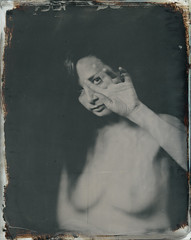 N. (Bertrand Carrot Film Photographer) Tags: nude analogcamera artiste ambrotype topless wetplate wetplatephotography wetplatecollodion woman 8x10 8x10camera since1850 photoshoot photographer
