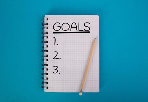 Goals written in notebook