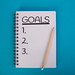 Goals written in notebook