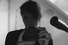 La douleur, c'est le vide... (Dans ma nébuleuse) Tags: mirror miroir eyes women canoneos canon50 lumière regard femme solitude émotion monochrome bw 100d 50mm canon portrait selfie