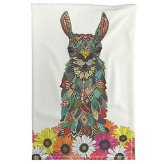 llama daisy love chalk roostery tea towel (Scrummy Things) Tags: llama geo geometric illustration animal animalportrait sharonturner cute kids gerbera daisy daisies roostery spoonflower scrummy teatowel