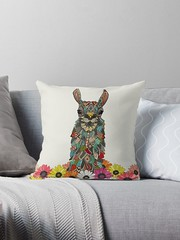 llama daisy love chalk redbubble throw pillow (Scrummy Things) Tags: llama geo geometric illustration animal animalportrait sharonturner cute kids gerbera daisy daisies redbubble pillow cushion throwpillow
