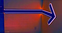 Direction (creepingvinesimages) Tags: sign direction arrow colors mood blue portland oregon samsung pse14 topaz restyle s9