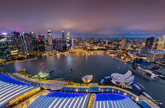 Shine With A Gleam I (Alec Lux) Tags: sands singapore architecture bay blue bluehour building buildings city cityscape exterior golden goldenhour haida haidafilters lights longexposure marina night nightscape outdoor outside skyline skyscraper tower urban