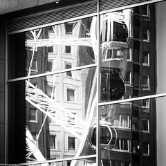 distortion (fhenkemeyer) Tags: reflection rotterdam netherlands window distortion ferriswheel abstract square bw