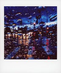 Sunset Rain (tobysx70) Tags: fujifilm fuji instax share sp3 square instant film smartphone ipad mini wifi printer sunset rain blvd boulevard hollywood los angeles la california ca raindrop drops droplet headlight taillight traffic light wet reflection dusk bokeh toby hancock photography