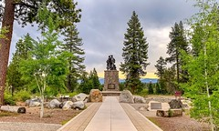 Donner Memorial State Park: The Pioneer Monument, a memorial to the Donner Party and all other pioneers who trekked across the Sierra Nevada Mountains to California. (lhboudreau) Tags: