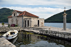 Perast, Island of Our Lady of the Rocks (Jocelyn777) Tags: water seascape buildings architecture boat island stones stonebuildings perast montenegro balkans travel mountains sky clouds