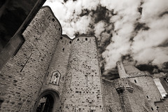 Gate of Narbonne (albireo 2006) Tags: blackandwhite bw france blackwhite gate bn carcassonne occitanie blackandwhitephotos blackwhitephotos portenarbonnaise narbonnegate gateofnarbonne castle fortifications