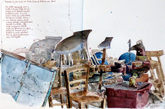 Tronchoy (atelierdelatimbale) Tags: tronchoy bourgogne hangar aquarelle sépia