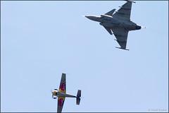 JAS-39C Gripen + Extra 300 (Pavel Vanka) Tags: plane airplane fly flying czech aircraft aviation airshow czechrepublic 300 saab extra spotting spotter gripen caslav jas39c lkcv canon jet formation redbull flyingbulls skyshow sonka kardos formationflight czechairforce