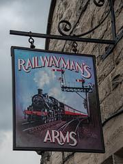 Railwayman's Arms Pub Sign, Bridgnorth, Severn Valley Railway 10 June 2019 (15) (BaggieWeave) Tags: 260 46443 bridgnorth gwr hgivatt lms mogul pubsign railwaymansarms severnvalleyrailway shropshire steam steamengine steamlocomotive uk england unitedkingdom