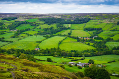 Beautiful greenery of the Patchwork Dale (Geordie_Snapper) Tags: banktopspiderroad blakeyridge canon2470mm cloudywithsomesun coldday june landscape moors northyorkshiremoors outdoors summer