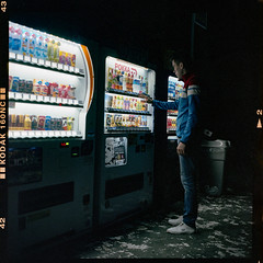 Self-portrait at night (instagram.com/dimush) Tags: portra160nc rolleiflex 120mm kodak portrait analog 120мм 120film среднийформат epsonv700 rolleiflex28e 120 portra grainisgood girl tlr 6x6 пленка film mediumformat japan expiredfilm 160nc