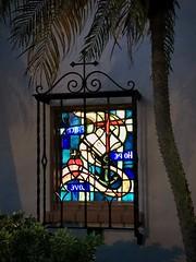 Peace Hope Love - Thanks For 40,062,141 views (LarryJay99 ) Tags: urban chainlink lakeworth worship nightshot bars nightshadows colors florida stainedglass urbanpalms windows happywindowswednesday onflickr