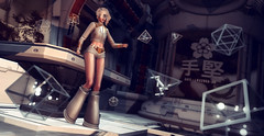 Technical Bug (♛ Baronne ♛) Tags: secondlife avatar sl 3d mademoiselle disorderly neon insilico neurolabinc grav boots cyber punk futur scifi lab laboratory blonde tableauvivant thesecretstore c88 collabor88 shadow bug issue problem trouble fashion look style pose lelutka mad shorts mini jacket glow vg game pic picture photograph oups petite stage accessory stacks accessoires accessories shoes cyberpunk flat