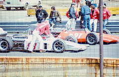 Mike Mosley's Eagle/Offy is being pushed past McCoy's Curtis/Offy (brooklandsspeedway) Tags: indycar trenton fairgrounds newjersey usac