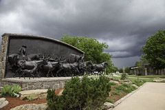 Oklahoma weather on the Chisholm Trail (cthcart) Tags: weather storm publicart art cowboy american monument bronze sculpture paulmoore travel chisholmtrailheritagecenter destination tourist history museum western ten top oklahoma duncan clouds sky blue center heritage trail chisholm thomasmccaslandii