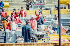 John Cannon's crew signals that their Mongoose/Foyt is ready (brooklandsspeedway) Tags: indycar trenton fairgrounds newjersey usac