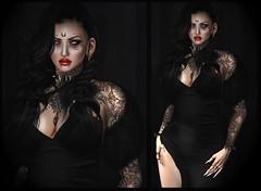 half God half Devil (Ginger Krokus) Tags: gingerkrokus secondlife sl virtual virtualworld goth gothic burlesque femmefatale lady vampire vamp doux kaithleens equal10 swallow blueberry lelutka