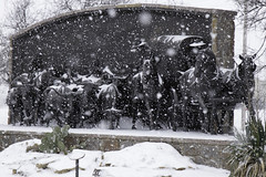 Snow On the Chisholm Trail (cthcart) Tags: weather storm publicart art cowboy american monument bronze sculpture paulmoore travel chisholmtrailheritagecenter destination tourist history museum western ten top oklahoma duncan clouds sky blue center heritage trail chisholm snow snowfall landscape