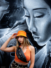 Amy 1 (Silver Machine) Tags: streetphotography street streetportrait girl blonde orange buckethat model london bricklane dankitchener graffiti urbanportrait portrait fujifilm fujifilmxt10 fujinonxf35mmf2rwr