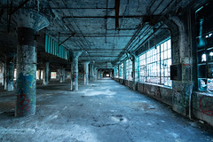 Blue Tinted Windows (michaelbrnd) Tags: abandoned detroit urbex urban exploration fisher body plant factory