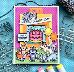 Happy Purrthday - Birthday Before 'n Afters (The Queen's Scene) Tags: card cardmaking lawnfawn magicpicturechanger colorthrowdown